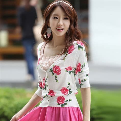 Cardigan Korea Original 2014 limited hitz original roses printed sweater cardigan