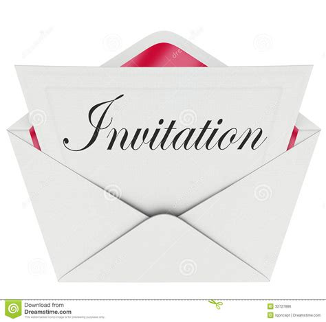 invitation word card envelope invited to party event stock