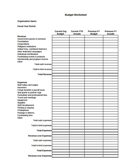Nonprofit Budget Template by 13 Budget Templates Free Premium Templates