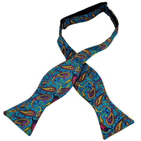 turquoise blue yellow large paisley self tie silk bow
