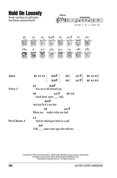 your side of the bed chords hold on loosely by 38 special guitar chords lyrics