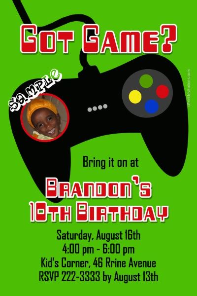 video game controller birthday invitations  colors