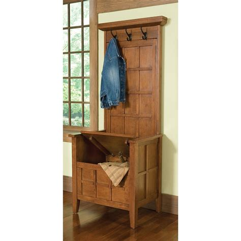 oak hall bench with storage home styles 174 cottage oak mini hall tree storage bench