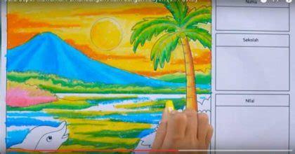 tutorial menggambar pantai gambar menggambar pantai krayon pemula pemandangan alam