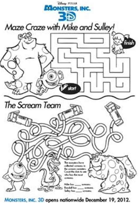 printable bowling maze disney s monsters inc free coloring pages for kids