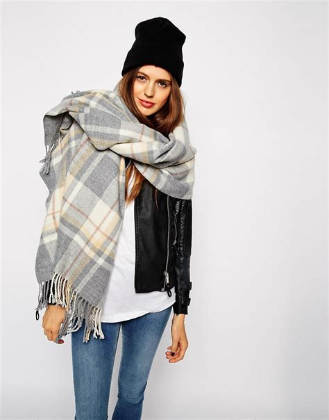 asos asos oversized scarf in grey check with tassels at asos