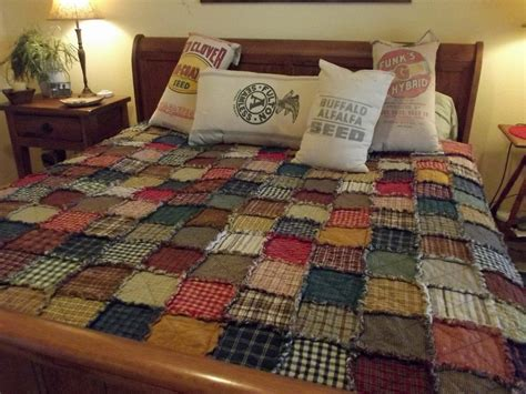 Handmade King Size Quilts - large size scrappy rag quilt ready to ship with