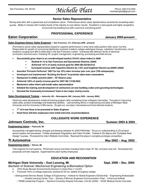 Sales Resume Exle by 19353 Sales Representative Resume Best Sales