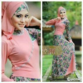 Bia Top Blus Muslimah Hijaber Murah Grosir Pakaian Katun D48g dress warna salem busana muslim baju muslim pusat busana muslim pakaian busana pakaian