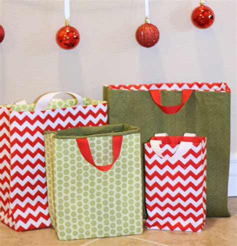 Fabric Paper Bag Pattern | fabric gift bags tutorial