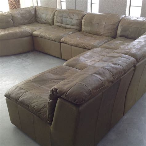 olive green sectional sofa patchwork modular sofa in original olive green leather