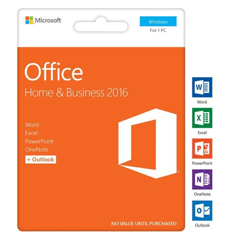 microsoft home office microsoft office home and business 2016 1 pc card