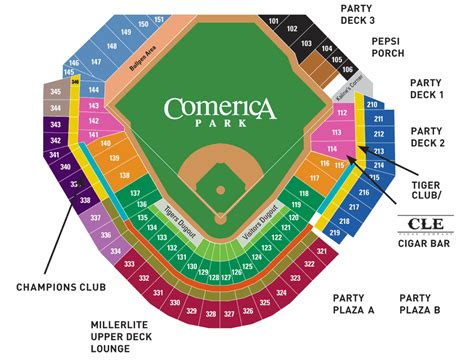 comerica park section map comerica park seating chart view seats