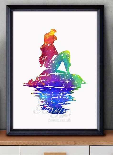 painting decor disney ariel little mermaid watercolor poster print wall