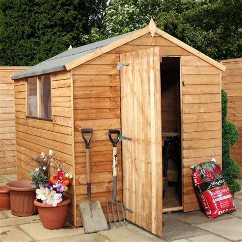 wooden overlap garden storage shed windows single door