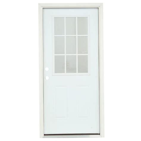 36 In X 80 In 9 Lite Primed Premium Steel Prehung Front 9 Lite Exterior Door
