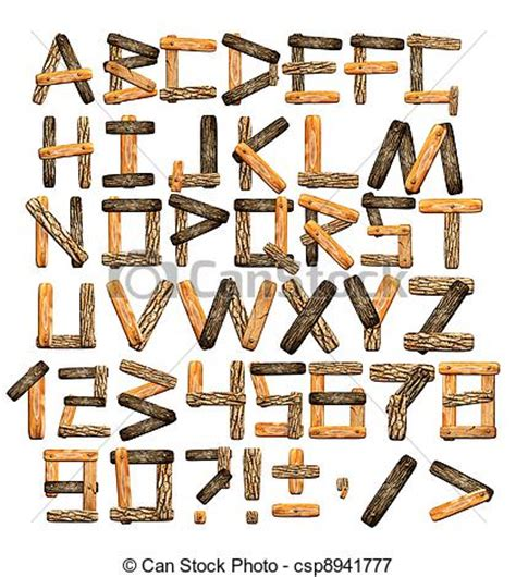 stock illustrations of alphabet from wooden boards and
