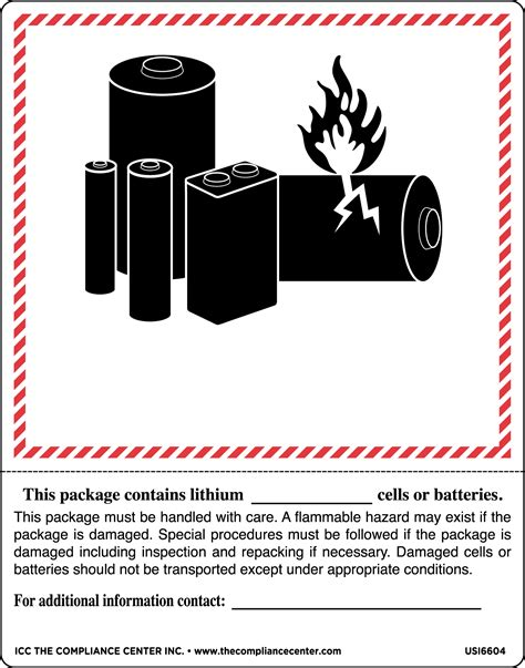 Lithium Battery Labels Lithium Ion Battery Label Template