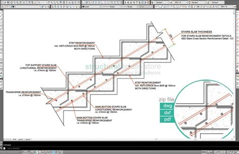 Stairs Design by Slabless Stairs Cross Section Reinforcement Details