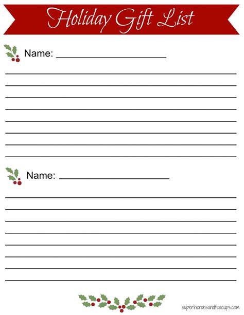 holiday gift list free printable