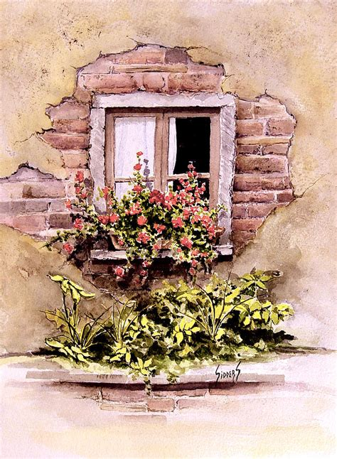 win with flower window flowers painting by sam sidders