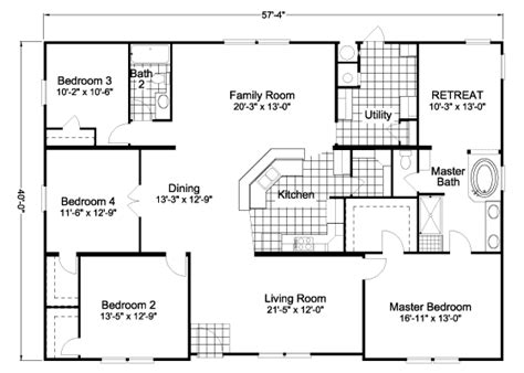 american freedom triplewide manufactured home floor plan