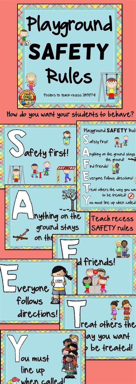 safety for woodwork at school playground and recess safety posters teaching