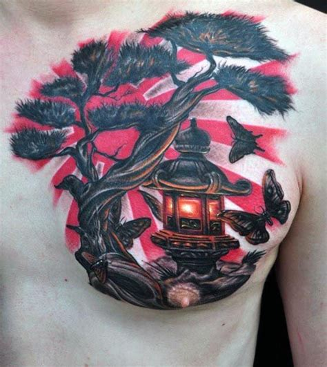 japanese tree tattoo designs japanese flag bonsai tree with lantern chest tattoos for