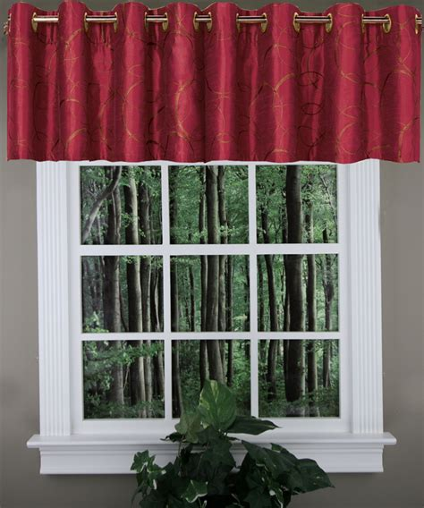 sinclair lined grommet valance burgundy united kitchen valances