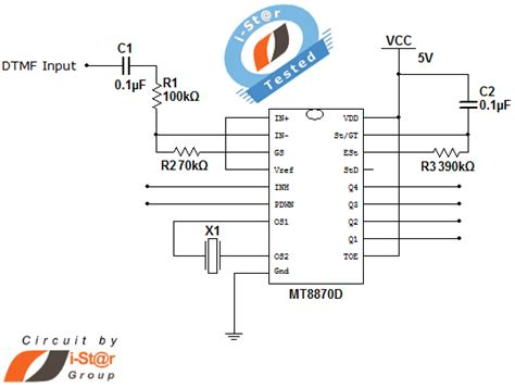 dtmf dual tone multi frequency decoder circuit schematic