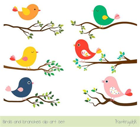 sweet bird and tree clipart set with cute little owl cute bird clipart set tree branch clip art colorful