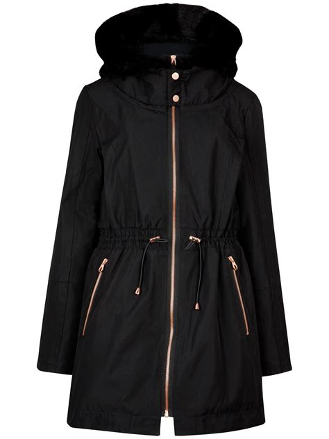 Ted Baker Coat For Winter by Ted Baker Ruye Faux Fur Trimmed Parka Coat In Black Lyst