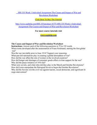 A Global Conflict Worksheet Answers by His 335 Week 1 Individual Assignment The Causes And Impact