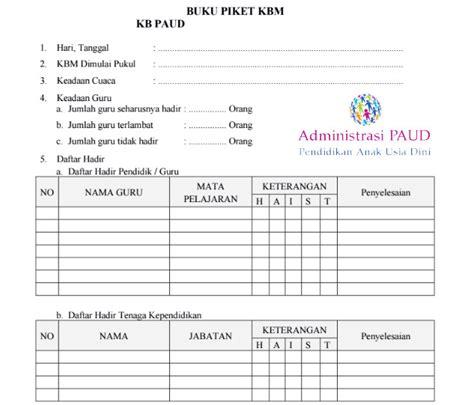 format buku kerja guru contoh format buku piket harian guru paud tk kober tpa