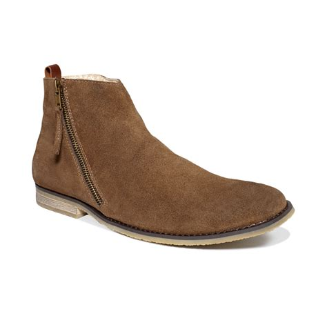 guess mens shoes hanley zip boots in brown for