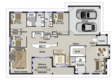 4 bedroom floor plans 4 bedroom house plans residential house plans 4 bedrooms
