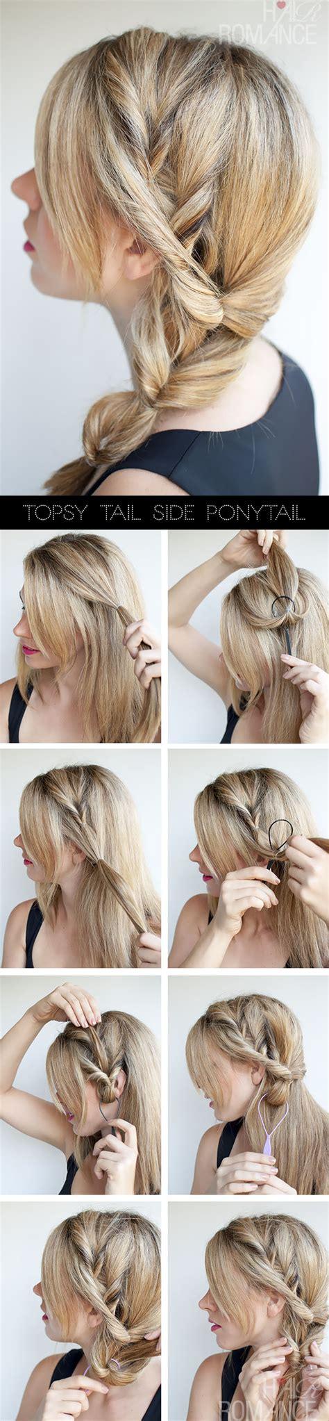 parting tutorial for braiding hair topsy tail ponytail tutorial the no braid side braid