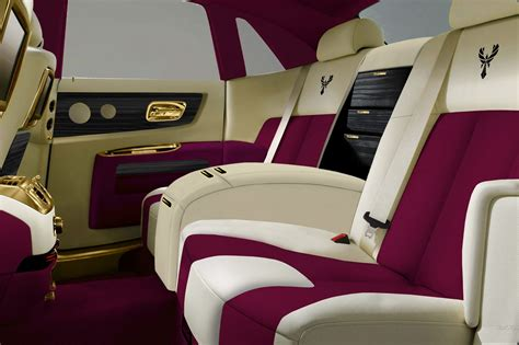 roll royce car inside rolls royce fenice milano purple gold interior 2 cars