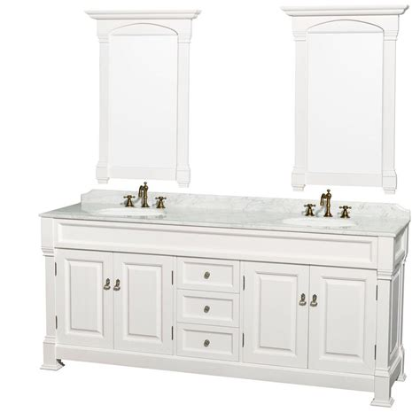 White Marble Vanity Top by Wyndham Collection Andover 80 In Vanity In White With