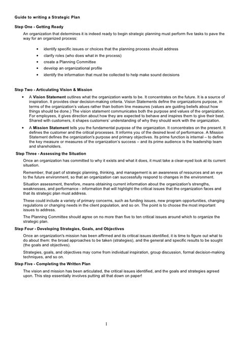 strategy document template 7 guide to writing a strategic plan