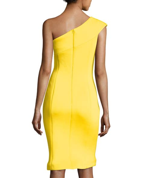 Dress Yellow Scuba jovani one shoulder scuba cocktail dress yellow