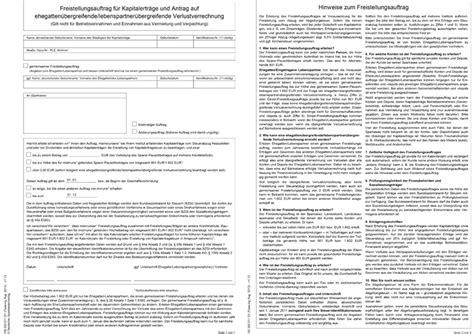 deutsche bank freistellungsauftrag freistellungsauftrag f 252 r verheiratete deutsche bank