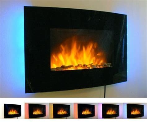 Mounted Fireplace Screen by 2kw Black Curved Glass Screen Wall Mounted