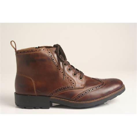 rieker brown leather brogue lace up ankle boot with zip