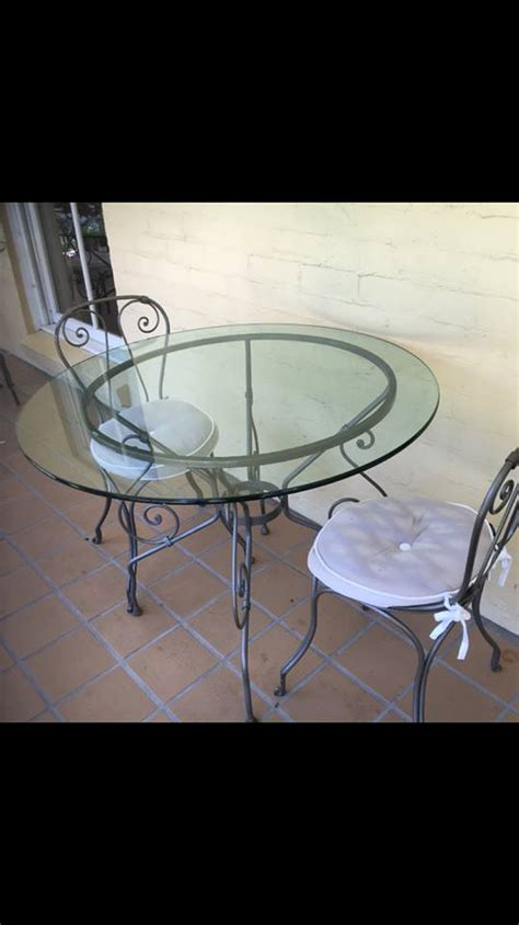 Wrought Iron Glass Top Table And Chairs by Wrought Iron Table With Glass Top And 2 Wrought Iron Chairs