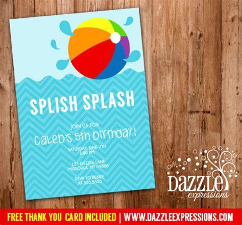 free printable thank you cards swimming printable modern pool party photo birthday invitation
