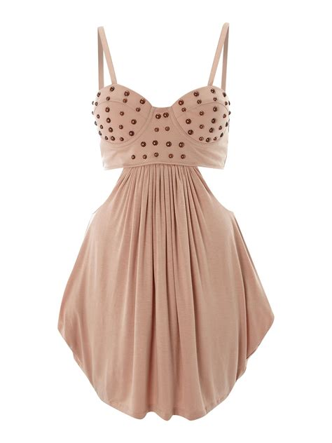 house of dereon dresses house of dereon cut out stud bustier dress in pink rose lyst