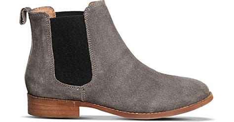 grey chelsea boots womens office bramble suede chelsea boots in gray lyst