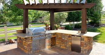 Back yard bbq and kitchen granstone bbq and outdoor kitchen examples