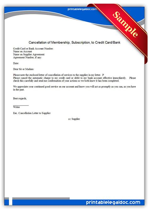 Cancel Credit Agreement Letter free printable cancellation of membership to credit